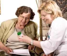 staff with female elder